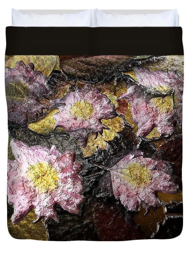 Flower Duvet Cover featuring the digital art Flowers In Pool Of Autumn Leaves by Michael Hurwitz