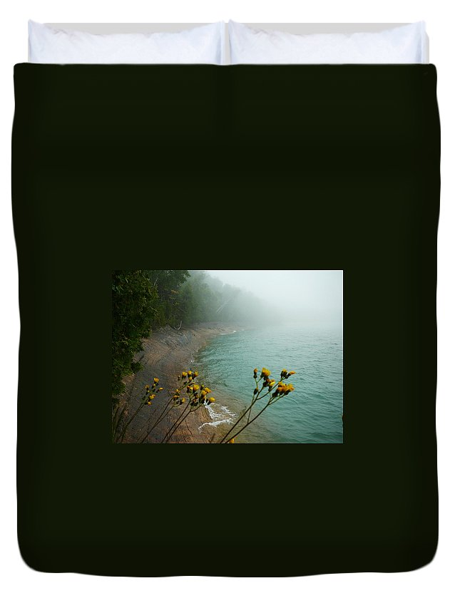Upper Peninsula Duvet Cover featuring the photograph Flowers In The Fog by Two Bridges North