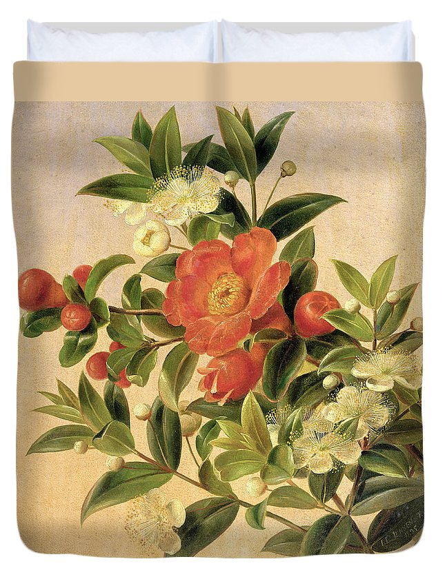 Flowers Duvet Cover featuring the painting Flowers by Johan Laurents Jensen