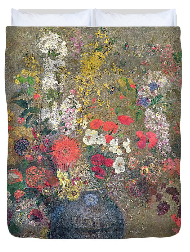 Vase; Still Life; Blue; Pink; Yellow Duvet Cover featuring the painting Flowers by Odilon Redon