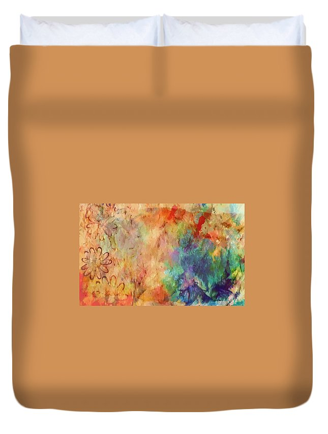 Abstract Duvet Cover featuring the digital art Flowers On Canvas by Peggy Gabrielson