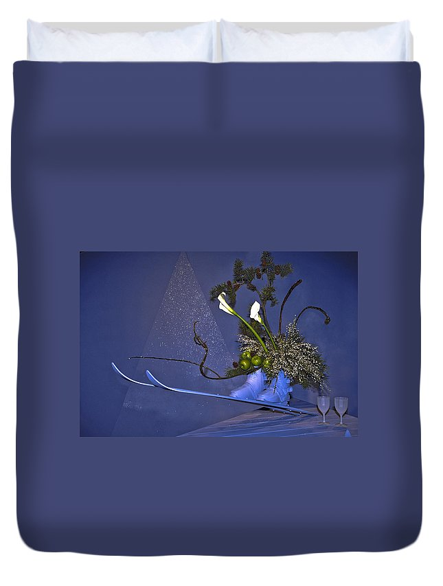 Floral Arrangement Duvet Cover featuring the photograph Flowers On Skis by Sally Weigand