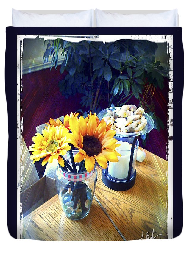 Flowers Duvet Cover featuring the painting Flowers On Table by Gerry Robins