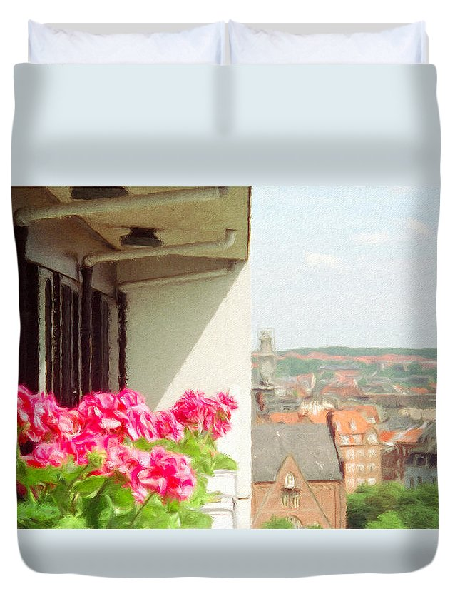 Aarhus Duvet Cover featuring the painting Flowers On The Balcony by Jeffrey Kolker