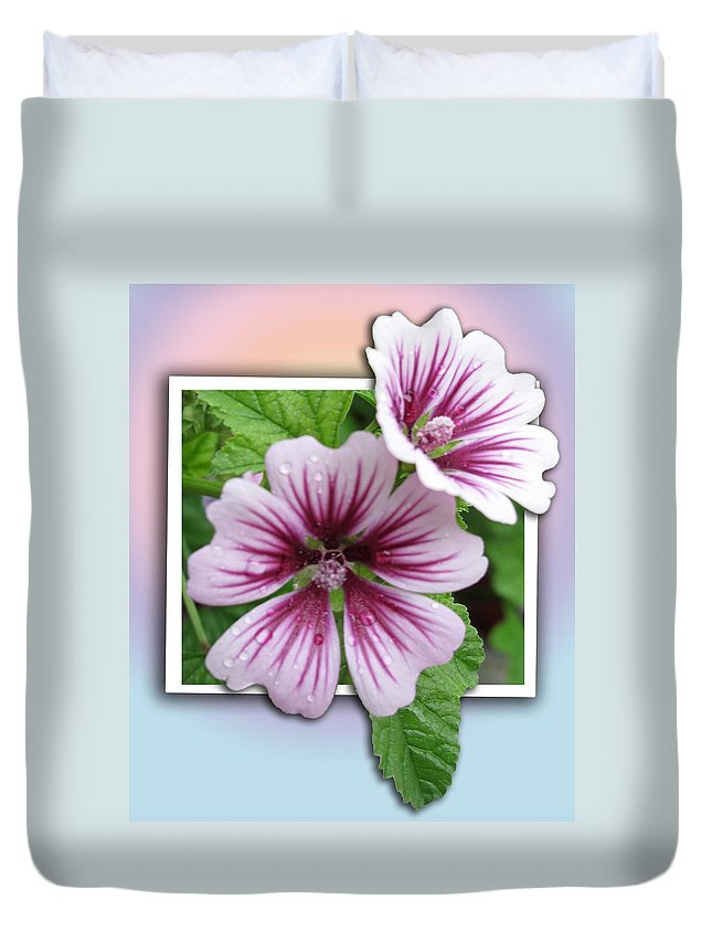 Floral Duvet Cover featuring the photograph Flowers Out Of Bounds by Barbara McDevitt