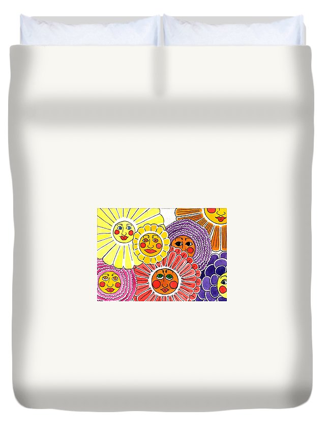 Flowers Duvet Cover featuring the painting Flowers With Faces by Genevieve Esson
