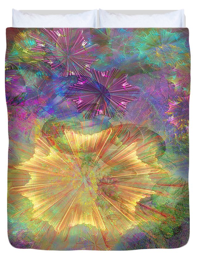 Floral Duvet Cover featuring the digital art Flowerworks - Square Version by John Beck