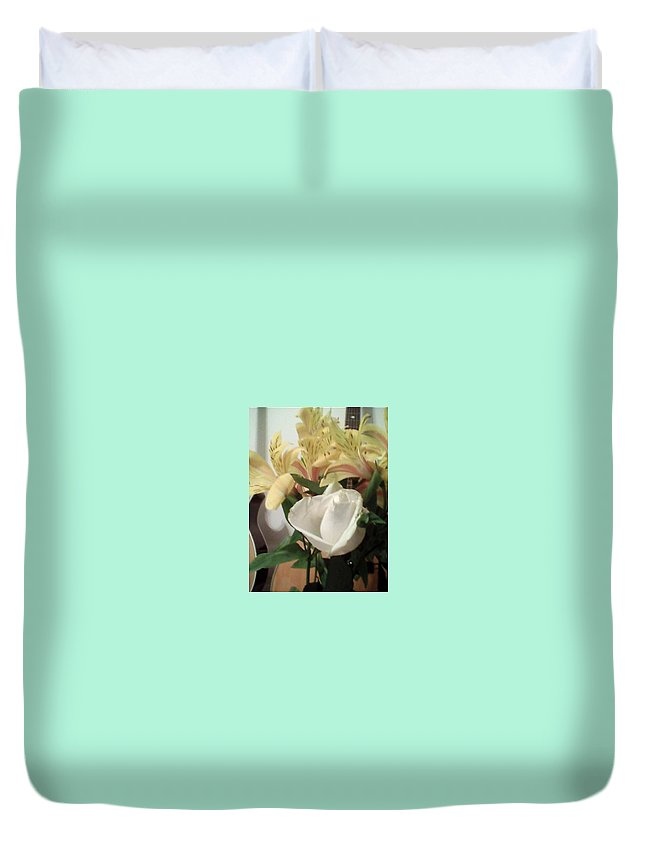 White Rose Duvet Cover featuring the photograph Flowery Notes by Suzanne Berthier