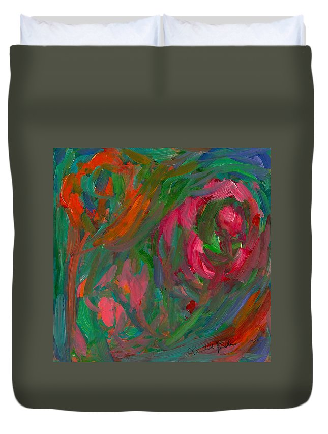 Abstract Paintings Duvet Cover featuring the painting Flowing Color by Kendall Kessler
