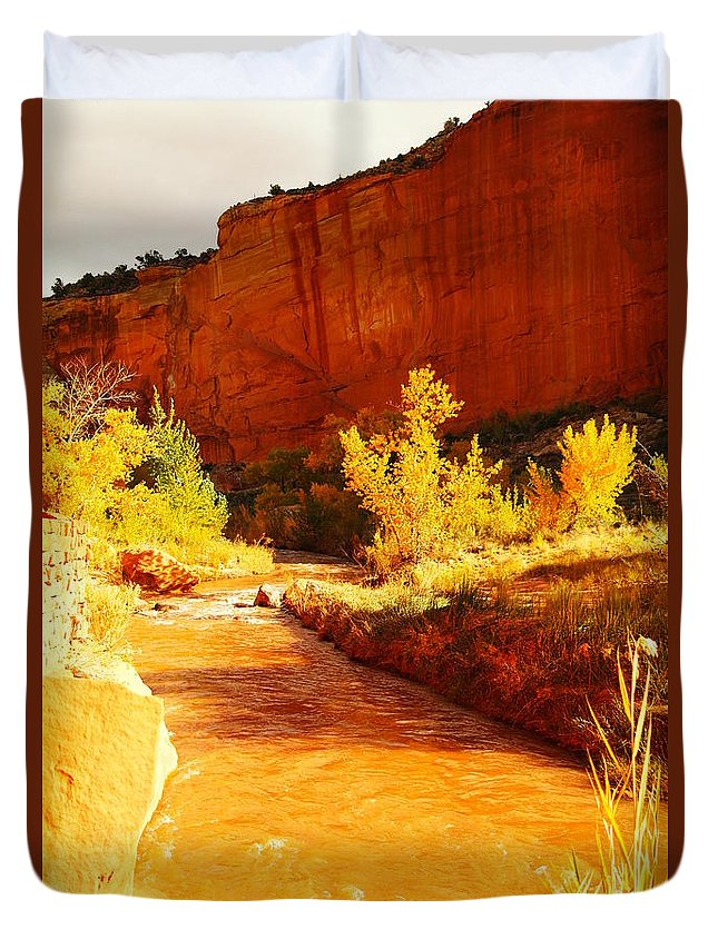 Landscape Duvet Cover featuring the photograph Flowing From Capital Reef by Jeff Swan