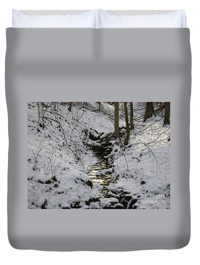 Winter Photography Duvet Cover featuring the photograph Flowing Water by R A W M