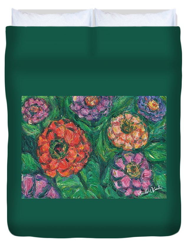 Flowers Duvet Cover featuring the painting Flowing Zinnias by Kendall Kessler
