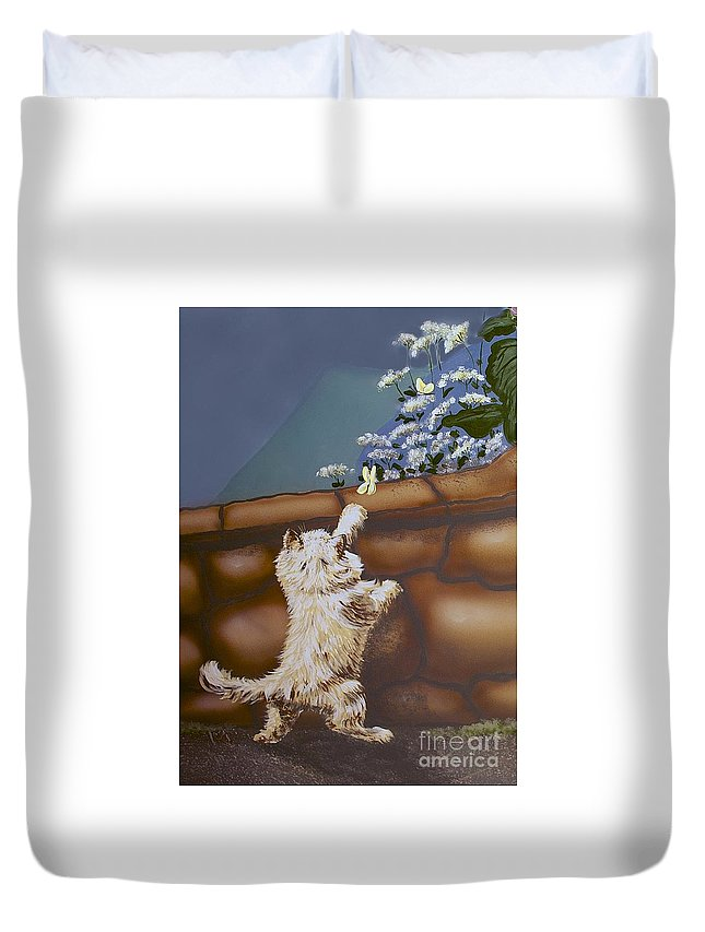 Kitty Duvet Cover featuring the painting Fluff And Flutter by Linda Simon