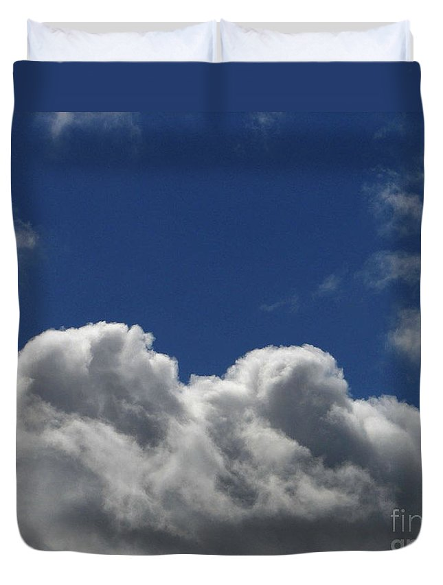 Clouds Duvet Cover featuring the photograph Fluffy Clouds 1 by Carol Lynch