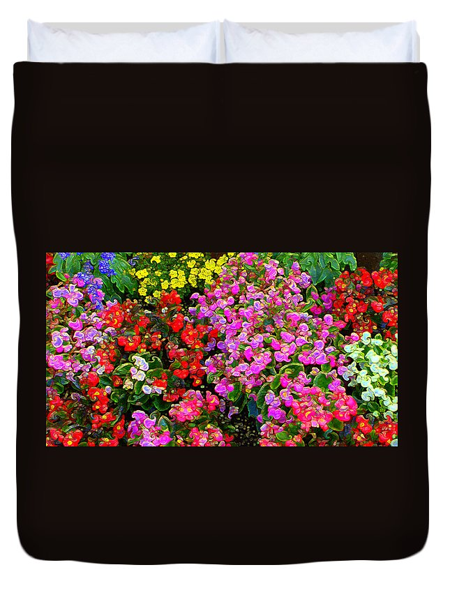 Duvet Cover featuring the mixed media Flwrs Test 1 by Terence Morrissey