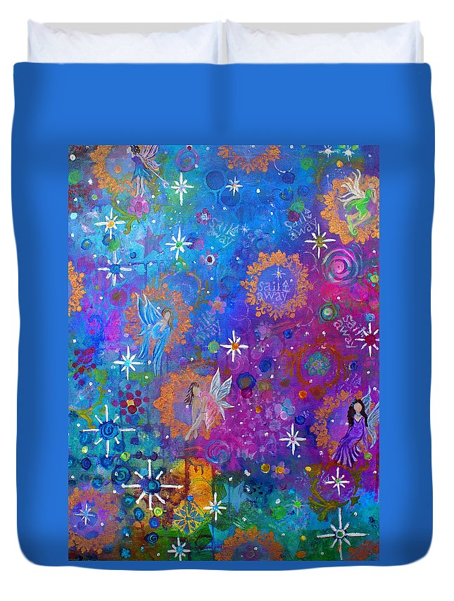 Fairy Art Duvet Cover featuring the painting Fly Away To Fairy Day by The Art With A Heart By Charlotte Phillips