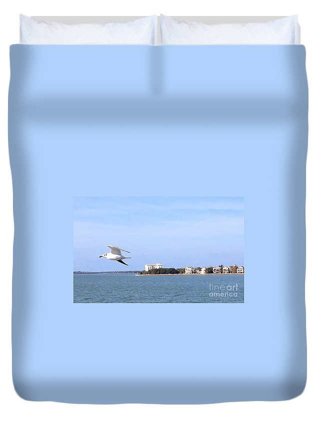 Seagull Duvet Cover featuring the photograph Fly By by Samantha Glaze