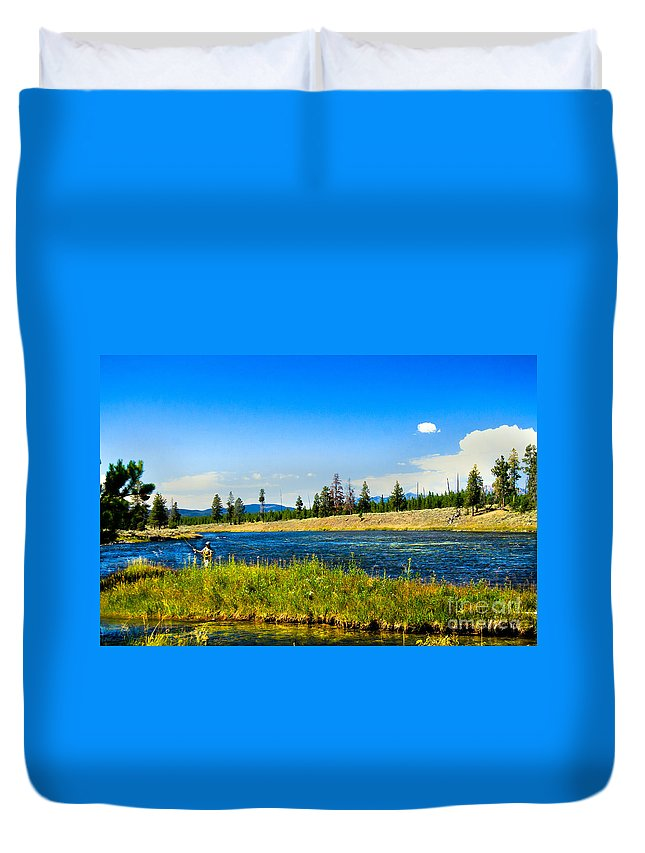 Fishing Duvet Cover featuring the photograph Fly Fishing In Yellowstone by Robert Bales