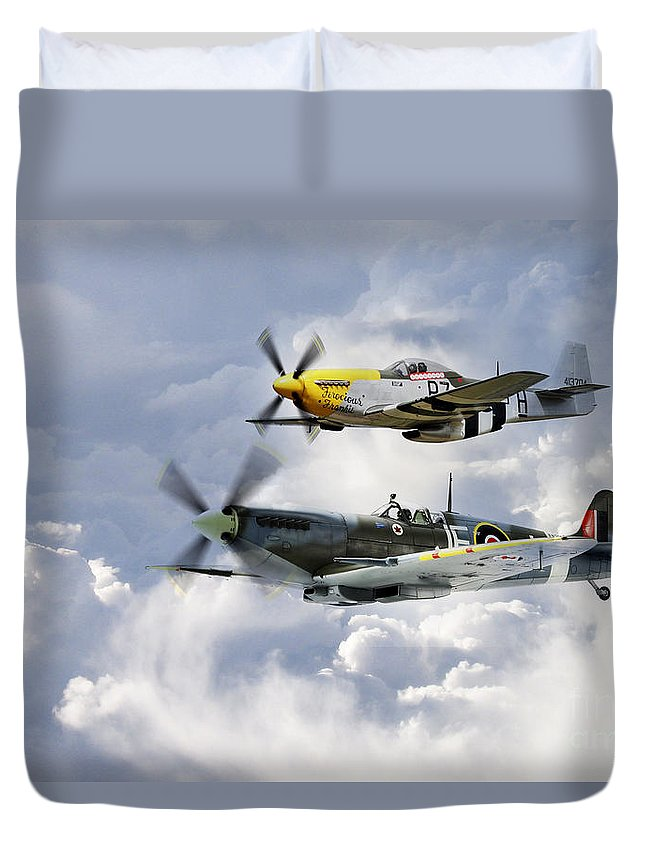 Supermarine Spitfire Duvet Cover featuring the digital art Flying Brothers by J Biggadike