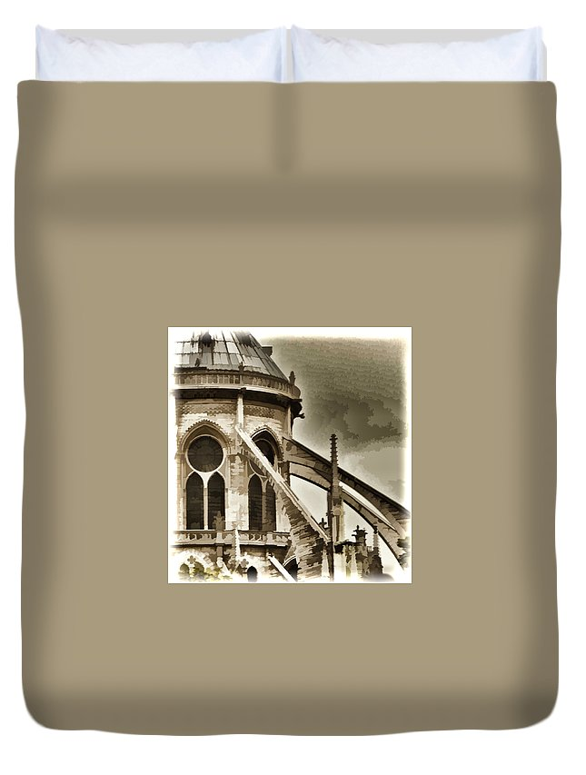 Notre Dame Cathedral Duvet Cover featuring the photograph Flying Buttress At Notre Dame by Jon Berghoff