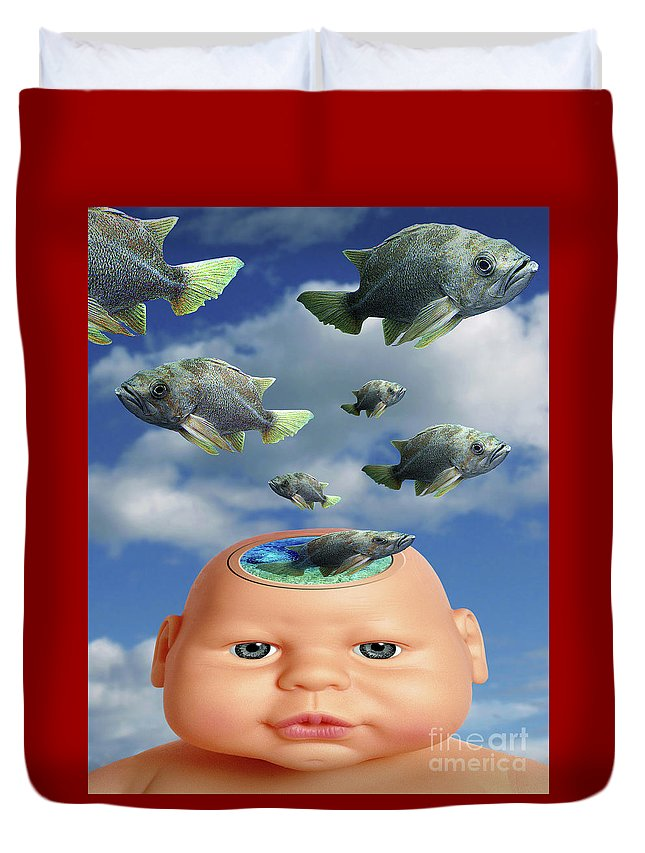 Baby Duvet Cover featuring the digital art Flying Head Fish by Keith Dillon