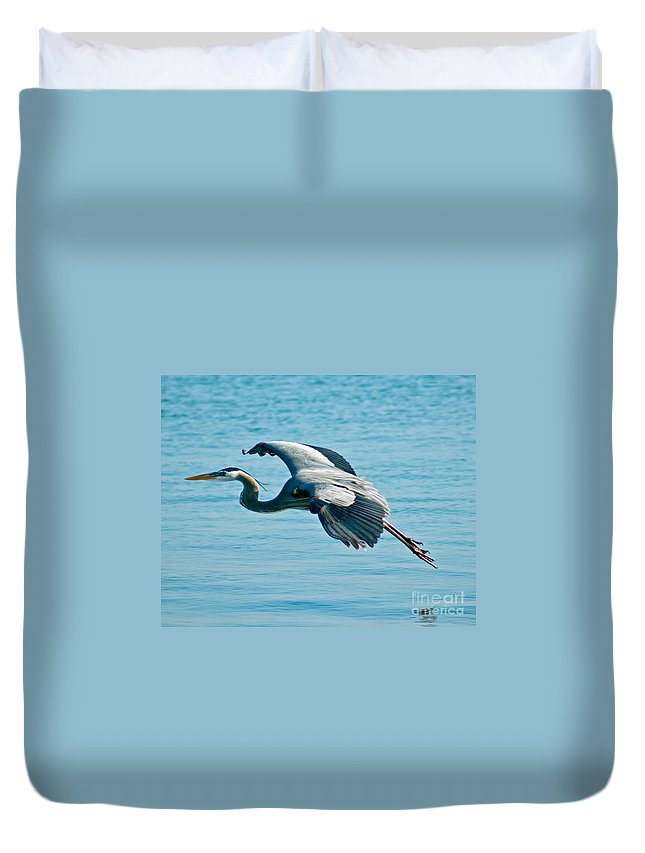 Heron Duvet Cover featuring the photograph Flying Heron by Stephen Whalen