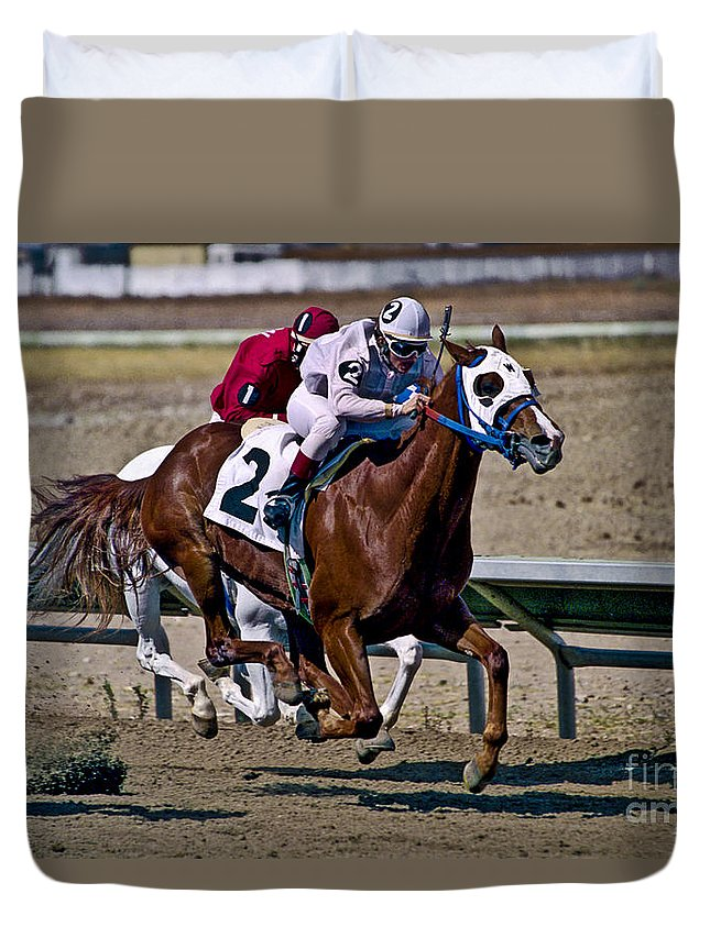 Racing Duvet Cover featuring the photograph Flying Hooves by Kathy McClure