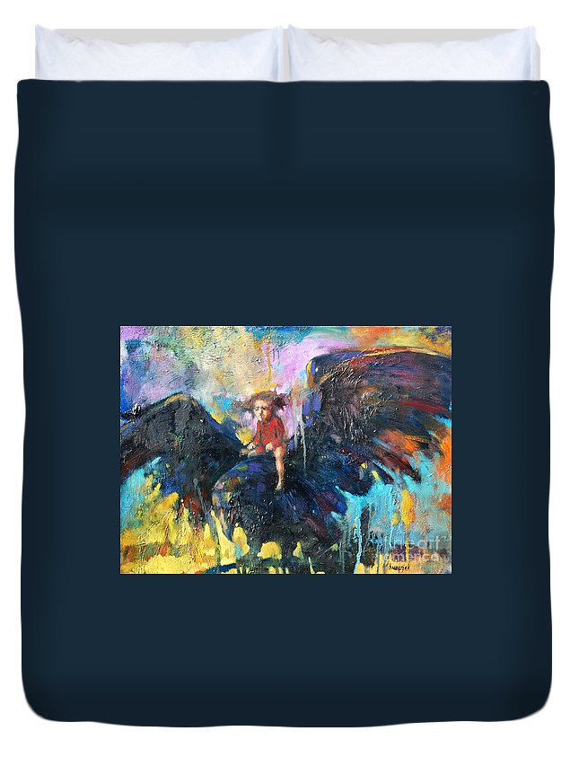 Flying In My Dreams Duvet Cover featuring the painting Flying In My Dreams by Michal Kwarciak