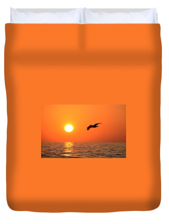 Fine Art Photography Duvet Cover featuring the photograph Flying Into The Sun by David Lee Thompson