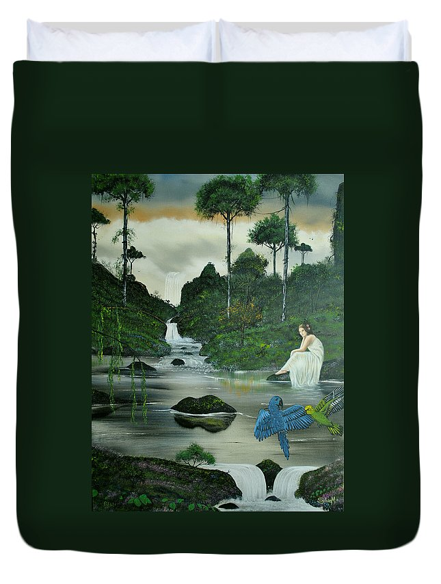Jungle Duvet Cover featuring the painting Flying Into Your Arms by Jody Poehl