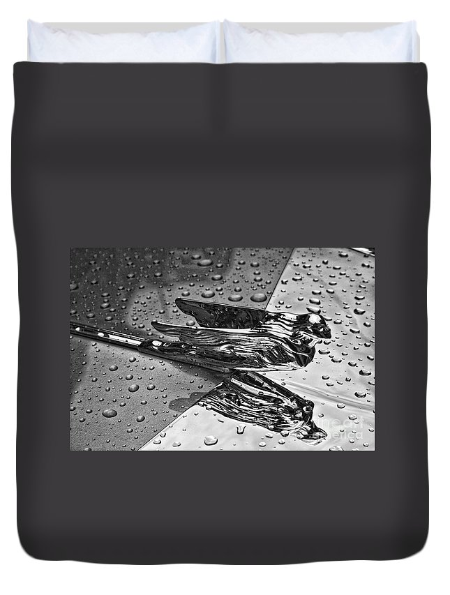 hood Ornament Duvet Cover featuring the photograph Flying Lady Hood Ornament In B And W by Crystal Nederman