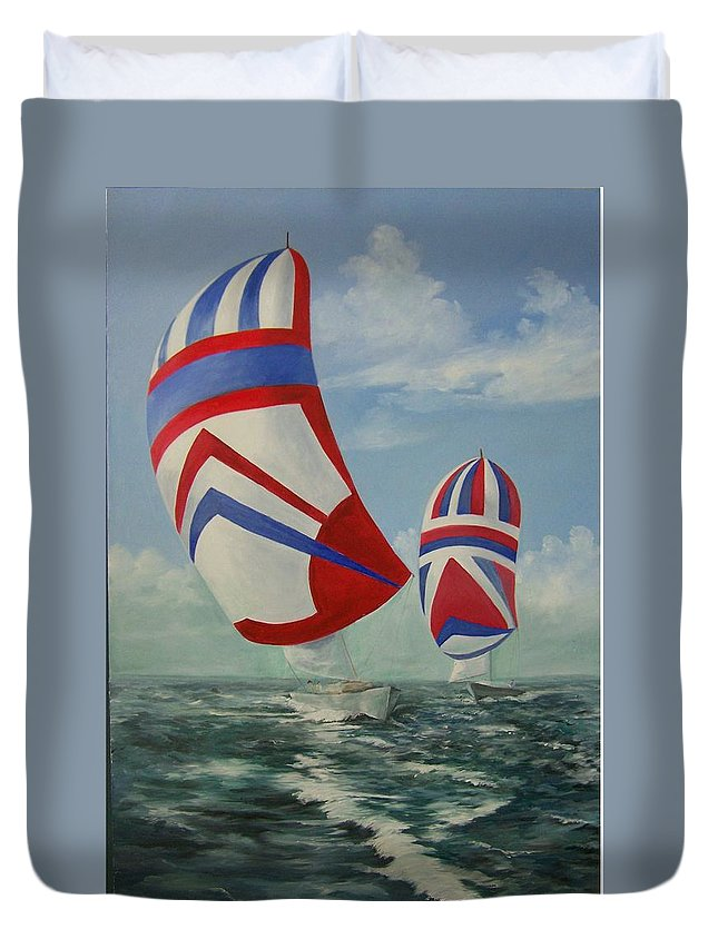 Sailing Ships Duvet Cover featuring the painting Flying the Colors by Wanda Dansereau