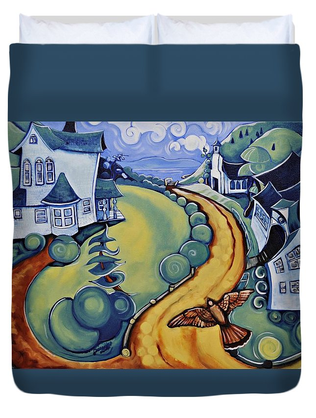 Duvet Cover featuring the painting Flying To Nicola by Cassandra Dolen