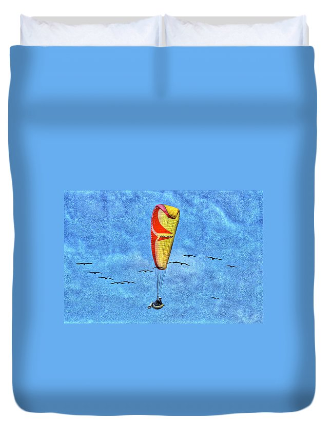 Beach Duvet Cover featuring the photograph Flying With Birds by SC Heffner