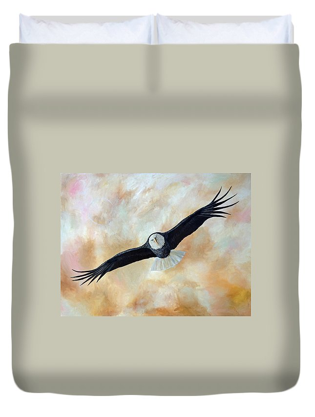 Eagle Duvet Cover featuring the painting Focus by Mr Dill