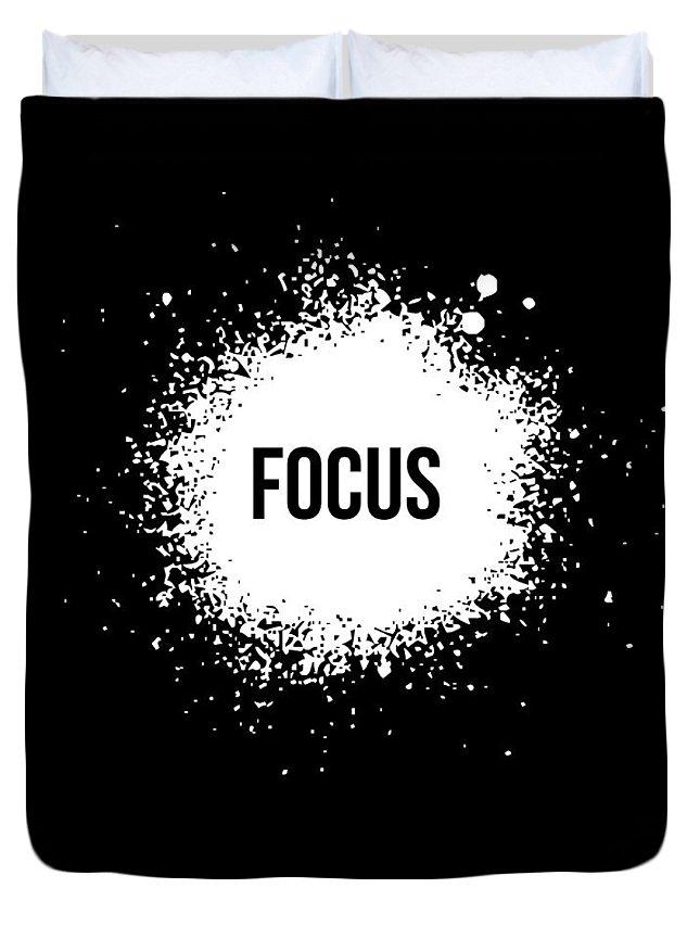 Duvet Cover featuring the digital art Focus Poster Black by Naxart Studio