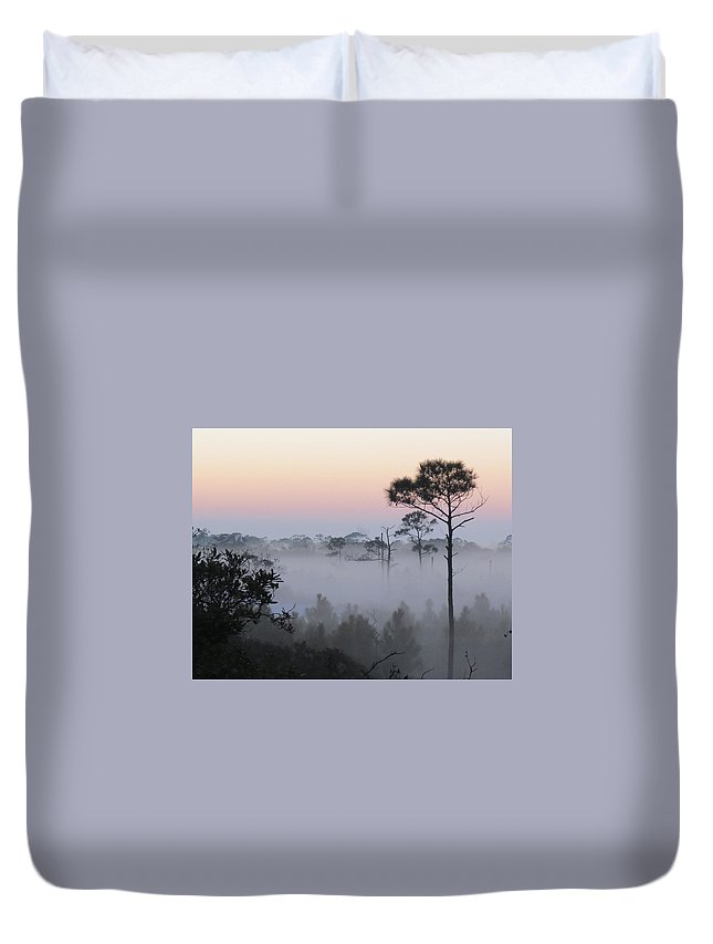 Fog Duvet Cover featuring the photograph Fog At Dawn by Kent Dunning