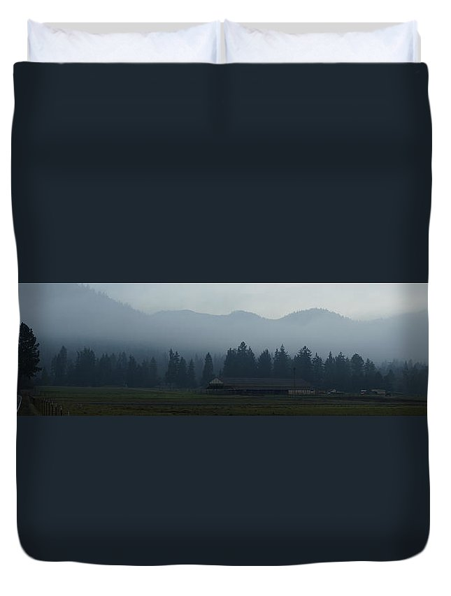 Panoramic Duvet Cover featuring the photograph Fog Forming At Dusk In The Rogue Valley by Mick Anderson