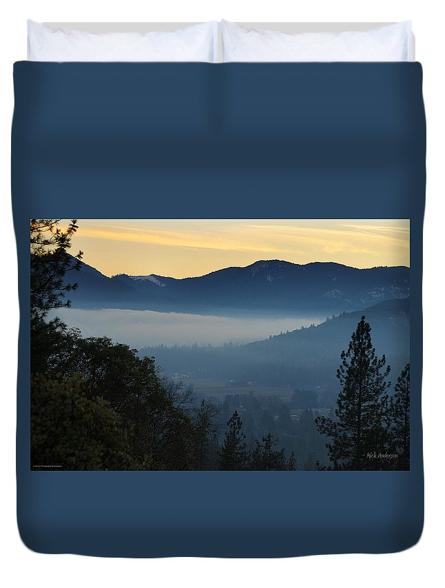 Evans Valley Duvet Cover featuring the photograph Fog Invades The Evans Valley by Mick Anderson