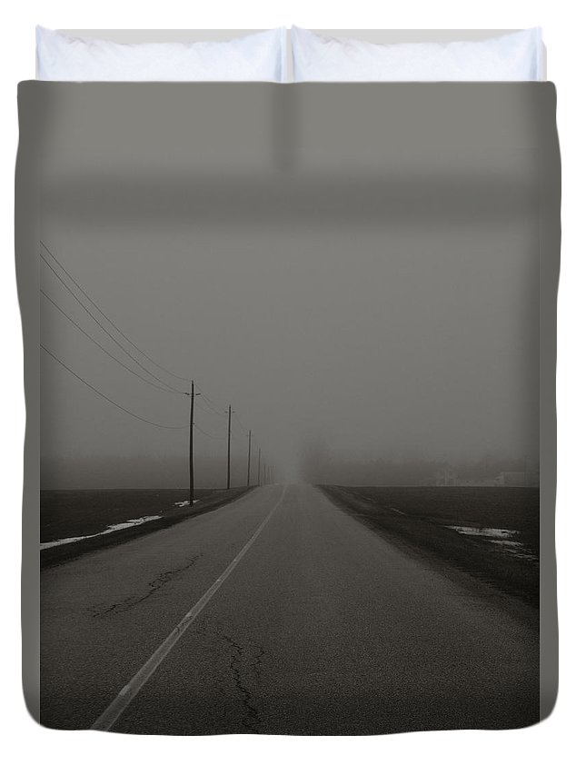 Road Duvet Cover featuring the photograph Fog by Katherine Townsend