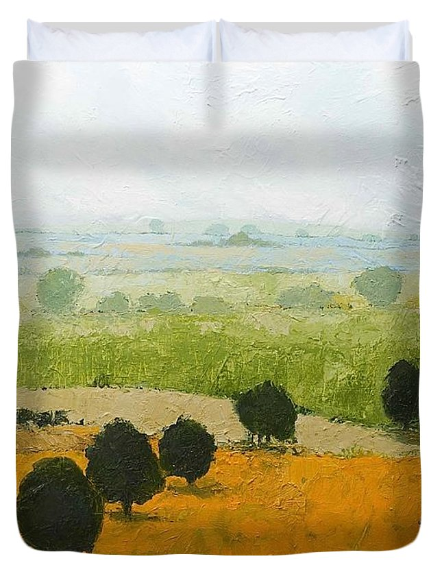 Landscape Duvet Cover featuring the painting Fog Lifting Fast by Allan P Friedlander