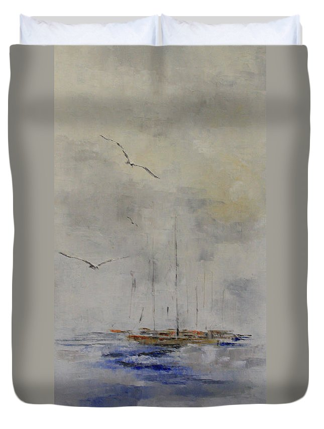 Seascape Duvet Cover featuring the painting Fog Lifting by Steve Knapp