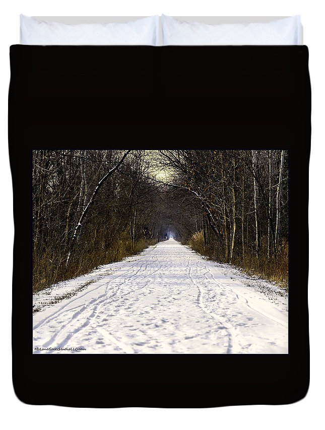 Usa Duvet Cover featuring the photograph Fog On The Winter Macomb Orchard Trail by LeeAnn McLaneGoetz McLaneGoetzStudioLLCcom