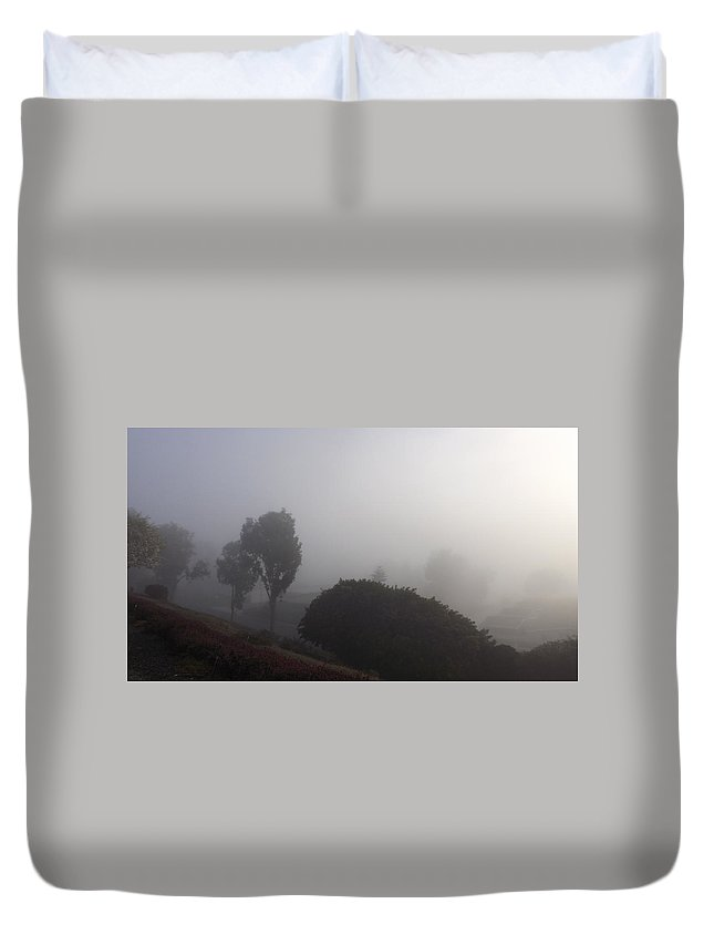 Fog Duvet Cover featuring the photograph Fog Through The Trees by Jussta Jussta