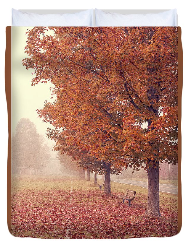 Road Duvet Cover featuring the photograph Foggy Autumn Morning Etna New Hampshire by Edward Fielding
