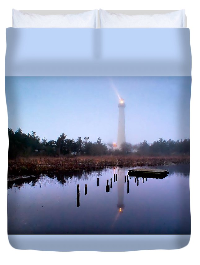 Architecture Duvet Cover featuring the photograph Foggy Cape May Light by Nick Zelinsky