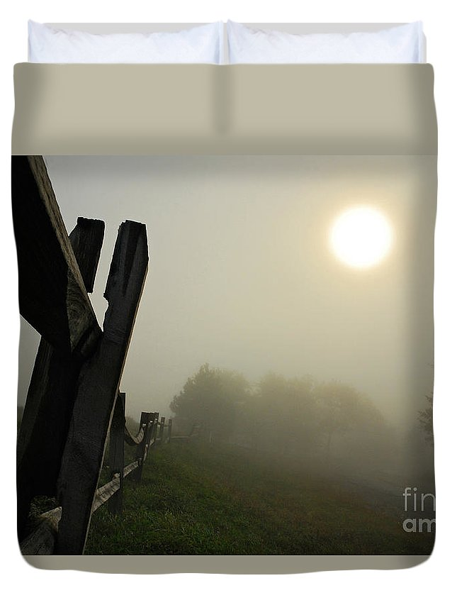 Foggy Country Road Duvet Cover featuring the photograph Foggy Country Road by Lois Bryan