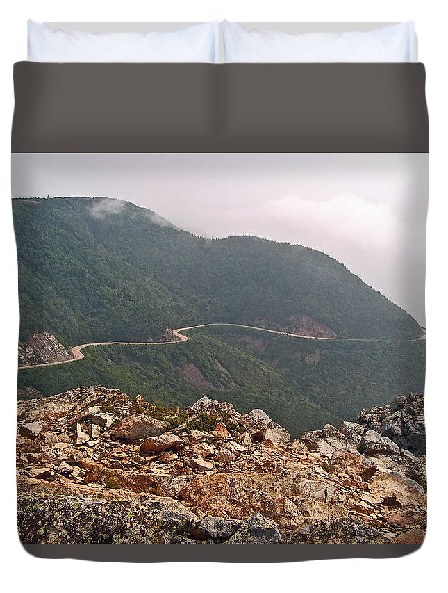 Foggy Day Road Through Cape Breton Highlands Np Duvet Cover featuring the photograph Foggy Day Road Through Cape Breton Highlands Np-ns by Ruth Hager