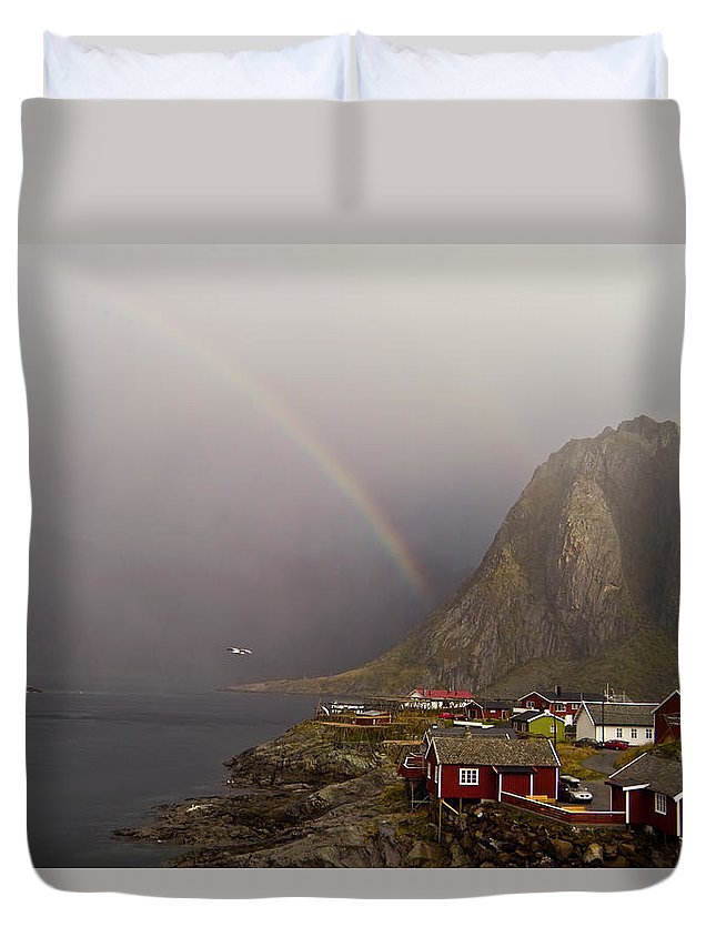 Landscape Duvet Cover featuring the photograph Foggy Hamnoy Rorbu Village by Heiko Koehrer-Wagner