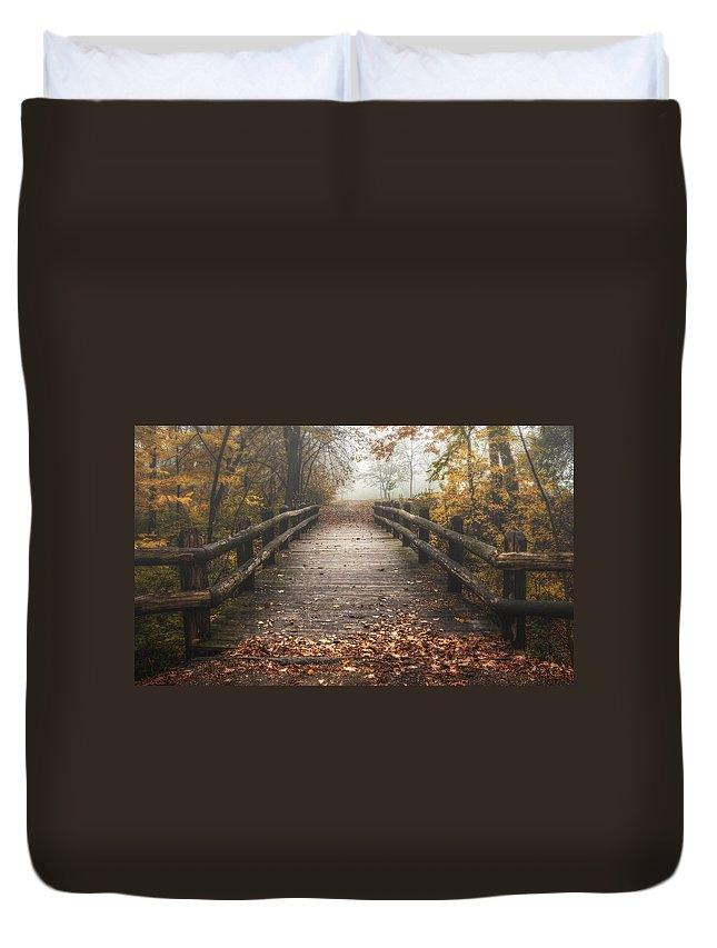Bridge Duvet Cover featuring the photograph Foggy Lake Park Footbridge by Scott Norris